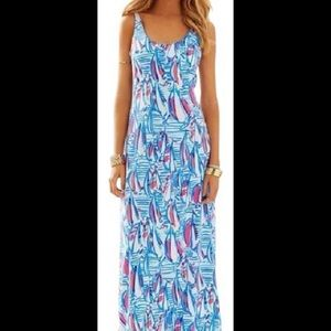 Lilly Pulitzer Red Right Return Palm Maxi Dress